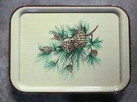(2) Vintage Mid Century Modern Green Pine Needles/Cone Steel Lap~TV~ Bed Tray.