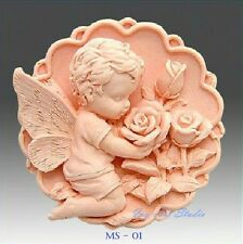 Silicone Soap/Candle Mold/Mould One Cavity Round Angel Holding Flowers