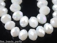 200pcs 3mm Faceted Rondelle Crystal Glass Loose Spacer Beads Porcelain White AB