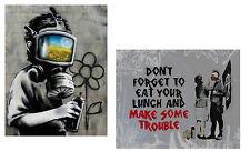 Banksy TWO canvas 8 x 10 Prints street art graffiti Gas Mask Boy & Anarchy