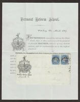 Vermont: Waterbury 1869 #92 Grilled Pair Advertising Cover + Good PF Certificate