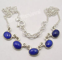925 Sterling Silver Genuine LAPIS LAZULI EXTRA ORDINARY Necklace 16.8""