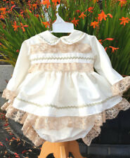 DREAM AUTUMN BABY GIRLS  CREAM CAMEL  SHORT DRESS TOP AND KNICKERS  SET
