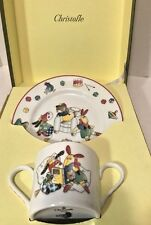 Christofle Paris Porcelain Childs Boys FanFan Mug Plate Set Orig Box Toys Train