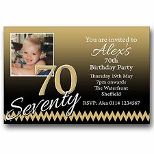 10 Personalised Birthday Party Photo Invitations 30th 40th 50th 60th 70th E416