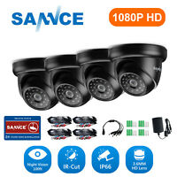 SANNCE 1080P In/ Outdoor 2MP IR Dome TVI CCTV Home Security Camera System