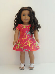 """Fushia/Colored Butterflies Knit Dress for 18"""" Doll American Girl Doll Clothes"""