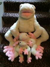 Lot set of 3 frog plush stuffed animal vintage summit collection small large