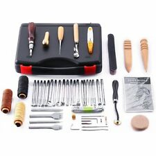 Caydo 59 Pieces Leather Craft Hand Tools Kit for Hand Sewing Stitching, Stamping