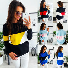 Women Long Sleeve Sweatshirt Pullover Tops Blouse Tee Patchwork T-shirts Autumn