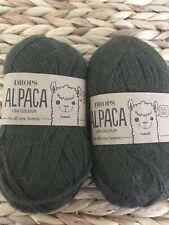 New Drops Garnstudio 100% Alpaca Yarn Super Soft Skein Dark Green