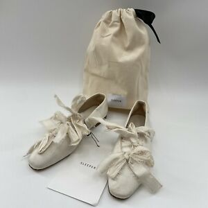 The Sleeper Mille-Feuille White Silk Bow Ballet Flats Size 36 US 6