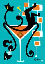 "Clee Sobieski PRINT Googie Mid Century Modern Black Cat Martini Cocktails 5x7"""