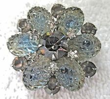 Vintage Rhinestone & Lucite Berry Brooch/Pin - Gray Blue w/Silver Metal