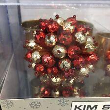 x4 Kim Seybert Napkin Ring Set Cluster Bead Red Gold Metal Christmas Holiday NEW