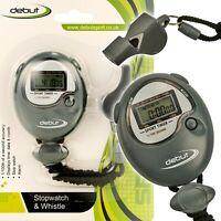 Digital Stopwatch & Whistle Set Sports Alarm Speed Football School Referee Timer