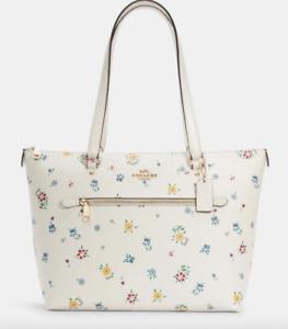 💙 Coach Gallery Tote Wildflower Print Handbag Purse White Floral Flowers BAG NW