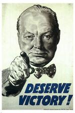 Deserve victory VINTAGE WAR POSTER Winston CHURCHILL UK 1945 24X36 rare HOT