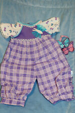 Cabbage Patch Kids Modern PA Purple/Pink Squares Girl Romper +Bows 16 in.