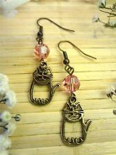 EARRINGS, MADE WITH PINK SWAROVSKI CRYSTAL & BRONZE KITTY CAT