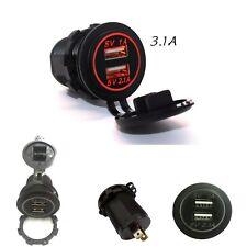 Universal 12V ~ 24V Dual USB Car Charger Cigarette Lighter With RED LED lights