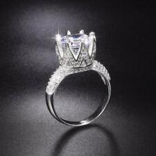 3ct Round Cut Diamond Engagement Ring 14k White Gold Finish Crown Fancy Wedding