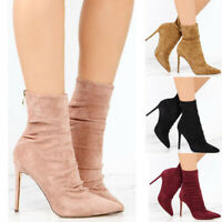 Women Pointed Toe Stilettos High Heels Autumn Back Zip Shoes Work Party Boots