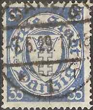 USED 1924 STAMP 35 Pfg. FREE CITY DANZIG Coat of Arms STAMP Blue