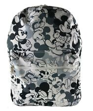 "16"" Disney Black & White Mickey Mouse All over Print Backpack Back to School"