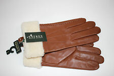NWT RALPH LAUREN Size Large Women's Brown 100% Saddle Leather Shearling Gloves
