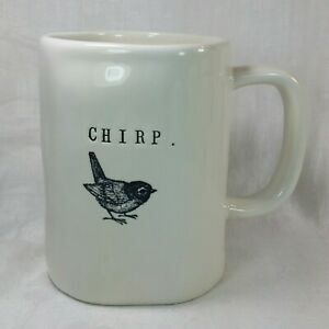 Rae Dunn Magenta Chirp MUG White with Black lettering and Bird 16 oz. Cup