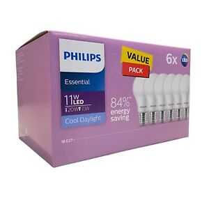 Philips LED Globes 6 pack 11W Cool Daylight 84% Energy Saving E27 Instant On New