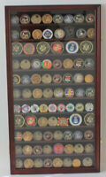 Large 108  Challenge Coin Medal Pin Display Case Cabinet, Real Glass, COIN2-MA
