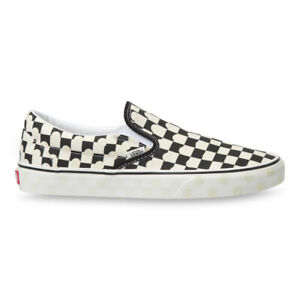 New Vans Classic Slip-On UV Ink Checkerboard/True White Sneakers 2021