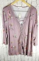 NEW Maurices Lace Front Top Shirt Blouse Sz 18W 20W Plus Womens Rayon Blnd  #KO