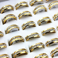 Rhinestone Stainless Steel Rings wedding band 30pcs Mix Lots Gold plated one row
