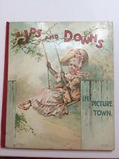 UPS & DOWNS IN PICTURE TOWN Antique NISTER Movable Children's BOOK WAIN Cats VG