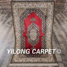 YILONG 3'x5' Classic Handmade Silk Carpet Red Flooring Hand Knotted Rugs L128A