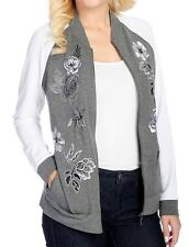OSO Casuals French Terry Knit Floral Embroidered Zip Front Jacket - Sz. M