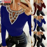 Womens Casual Sequins V Neck Tops Ladies Slim Fit Long Sleeve T-shirt Blouse Tee