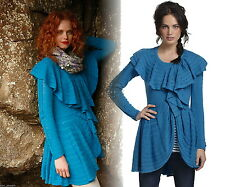Anthropologie Ridged Ruffles Cardigan Small 2 4 Blue Wool Sweater LeifNotes NWT