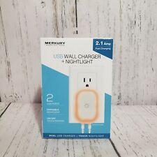 Merkury Innovations USB Fast Charging Wall Charger + NightLight - 2 USB Ports A1