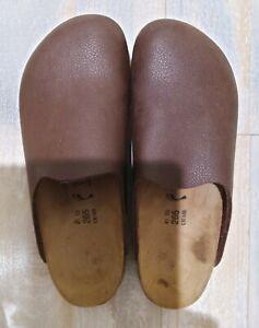 Birkenstock Birki's Brown Leather Slip On Clog Mule Sz L10 M8