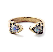 Lunette Open Band Rings Antique + Crystal Pavé Accents Adjustable Cocktail CI