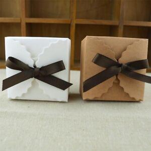 50Pcs Wedding Candy Box kraft White Gift Box with Robbon Packing Romantic
