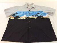 Hilo Hattie Mens XXL 2XL Sunset Beach Cabana Hawaiian Shirt EUC