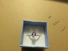 geniune amethyst ring 7x5 oval 925ss rhodium plated size 7