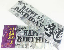40th Birthday Banner Jumbo Large Silver Banner Wall Room Decoration 3M Wide Male