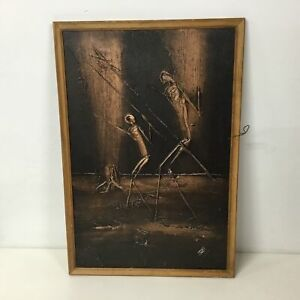 Unusual Black And Bronze Painted Textured Framed Painting Signed By Artist #454