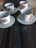 Block Spal Watercolors Mary Lou Goertzen Poinsettia 4 Sets of Cups &Saucers Xmas